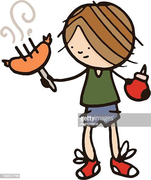 ilustraciones, imágenes clip art, dibujos animados e iconos de stock de little boy sosteniendo un salchicha en horquilla con tomate salsa de tomate - al vapor