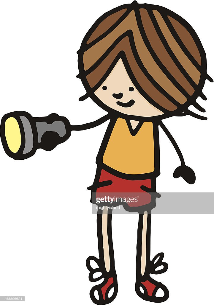 Little boy holding a torch : stock illustration
