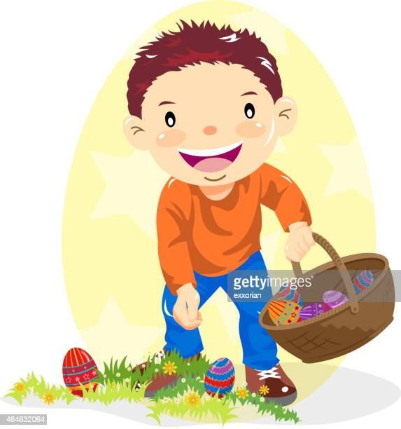 little boy hunting easter egg in nature - easter egg hunt stock illustrations, clip art, cartoons, & icons