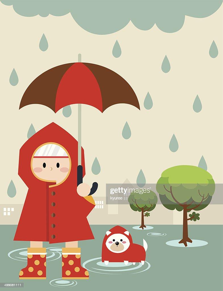 Little boy in raincoat C