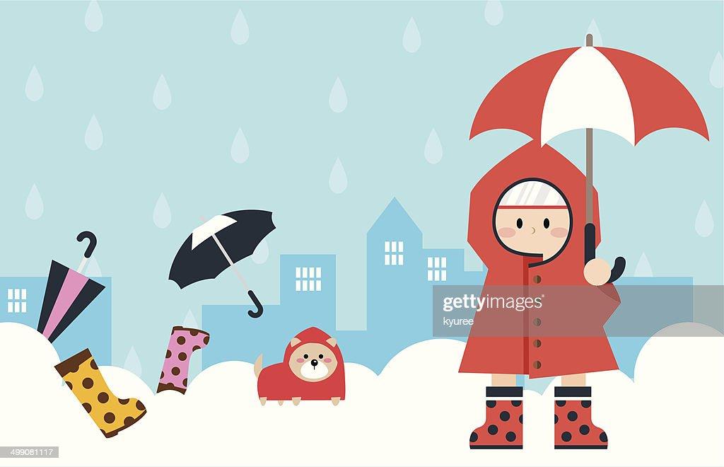 Little boy in raincoat E