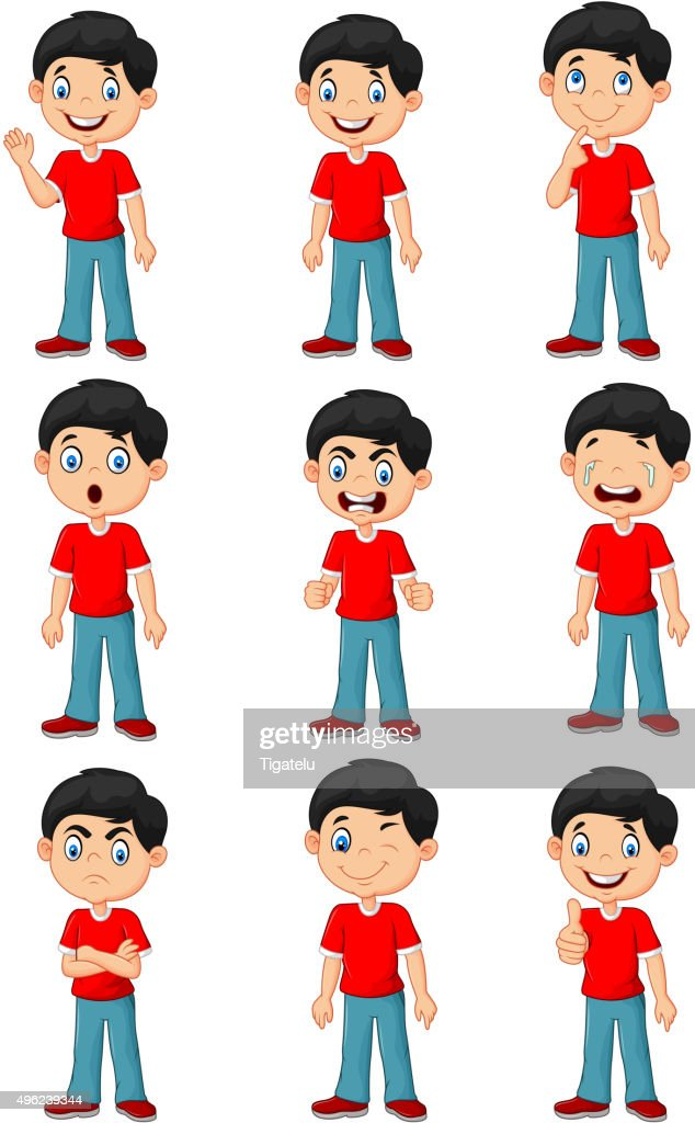 Little boy in various expression isolated on white background