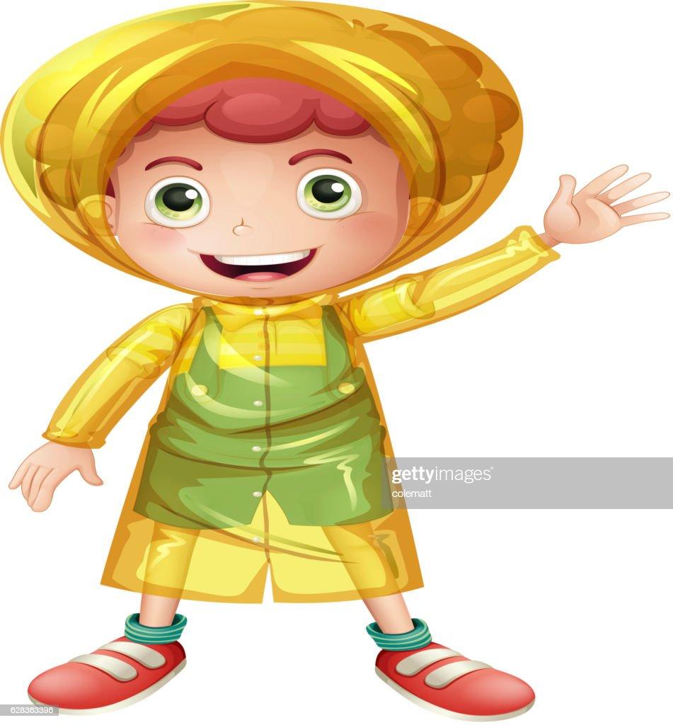 Little boy in yellow raincoat