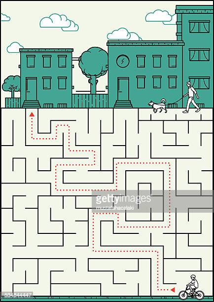Little boy is lost in a labyrinth