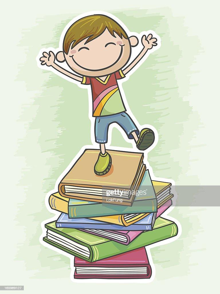 Little boy loves reading so much : stock illustration