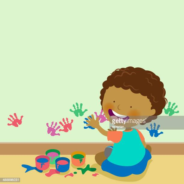 little boy painting on wall - finger painting stock illustrations