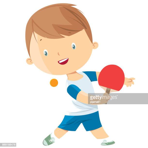 little boy playing table tennis - table tennis stock illustrations
