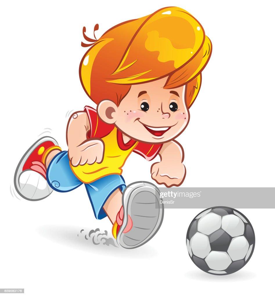 Ein Kleiner Junge Spielt Fussball Lustige Comicfigur