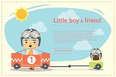 Little boy racer and friend background
