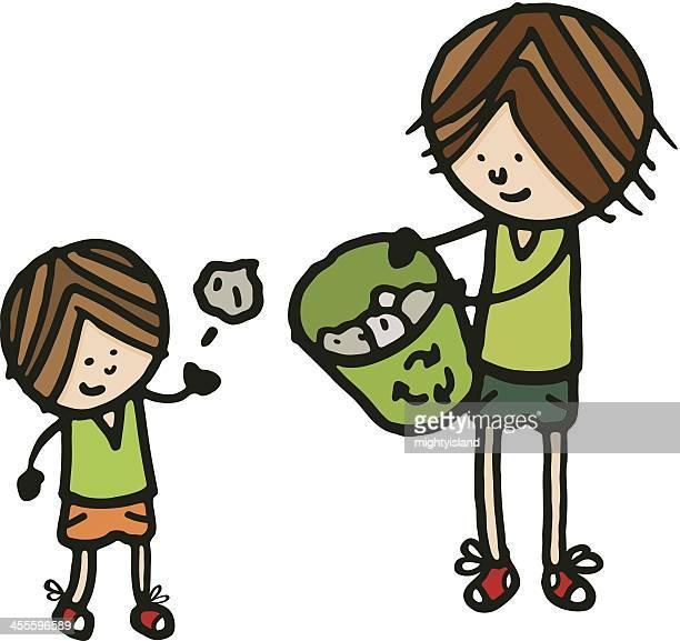 ilustraciones, imágenes clip art, dibujos animados e iconos de stock de little boy reciclaje - tirar basura