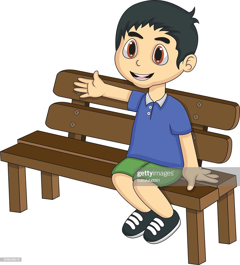 Little boy sitting on a bench cartoon