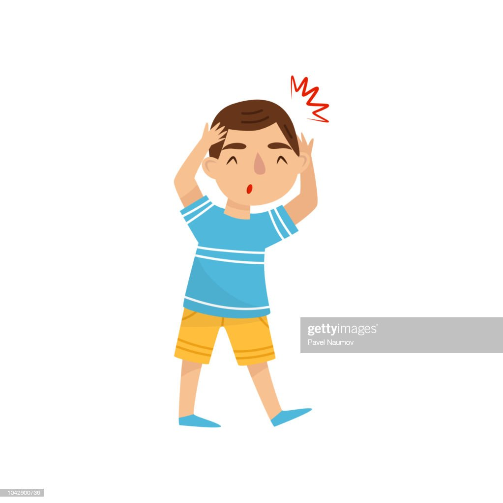 Little boy suffering from headache. Child with pain in the head. Symptom of disease. Sick kid. Flat vector illustration