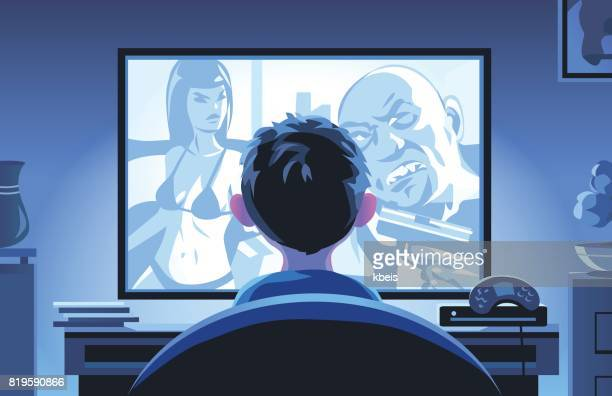 little boy watching movie late at night - addiction stock illustrations, clip art, cartoons, & icons
