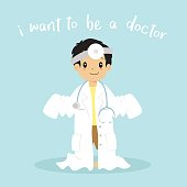 Little Boy Wearing Doctor Uniform Cartoon Vector