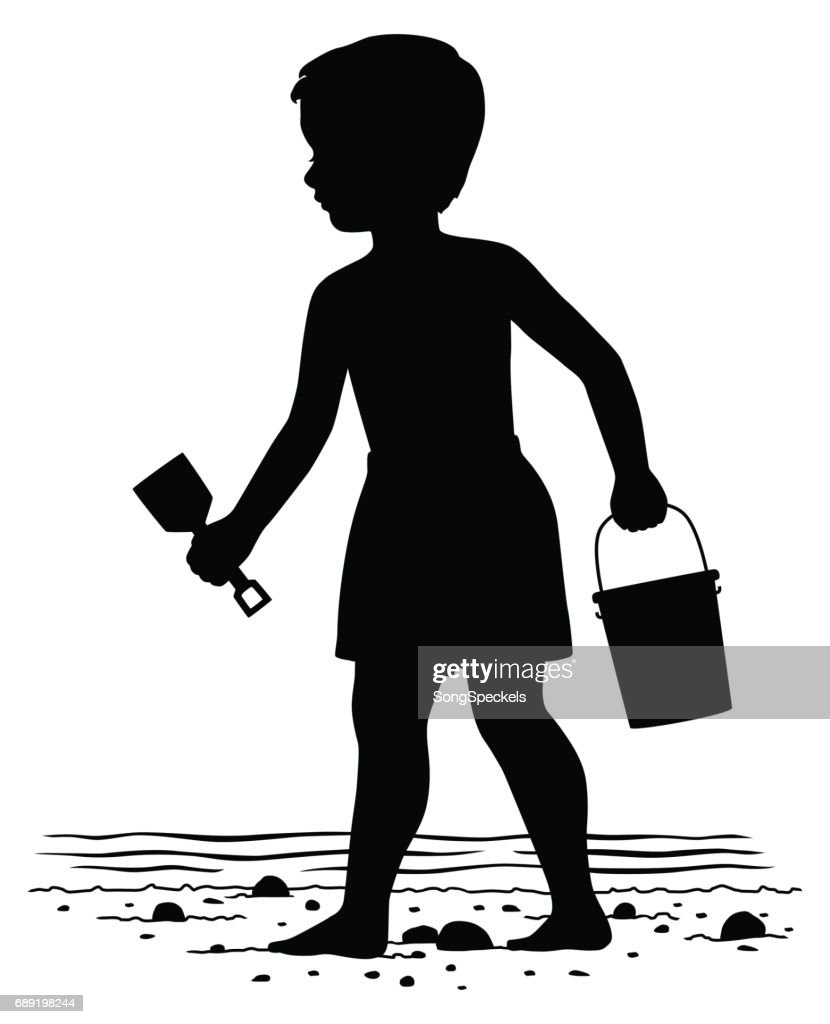 Little boy with beach toys : Stock Illustration