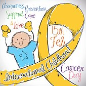 Little Boy with Golden Ribbon Commemorating International Childhood Cancer Day