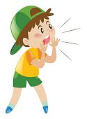 Little boy with green hat shouting