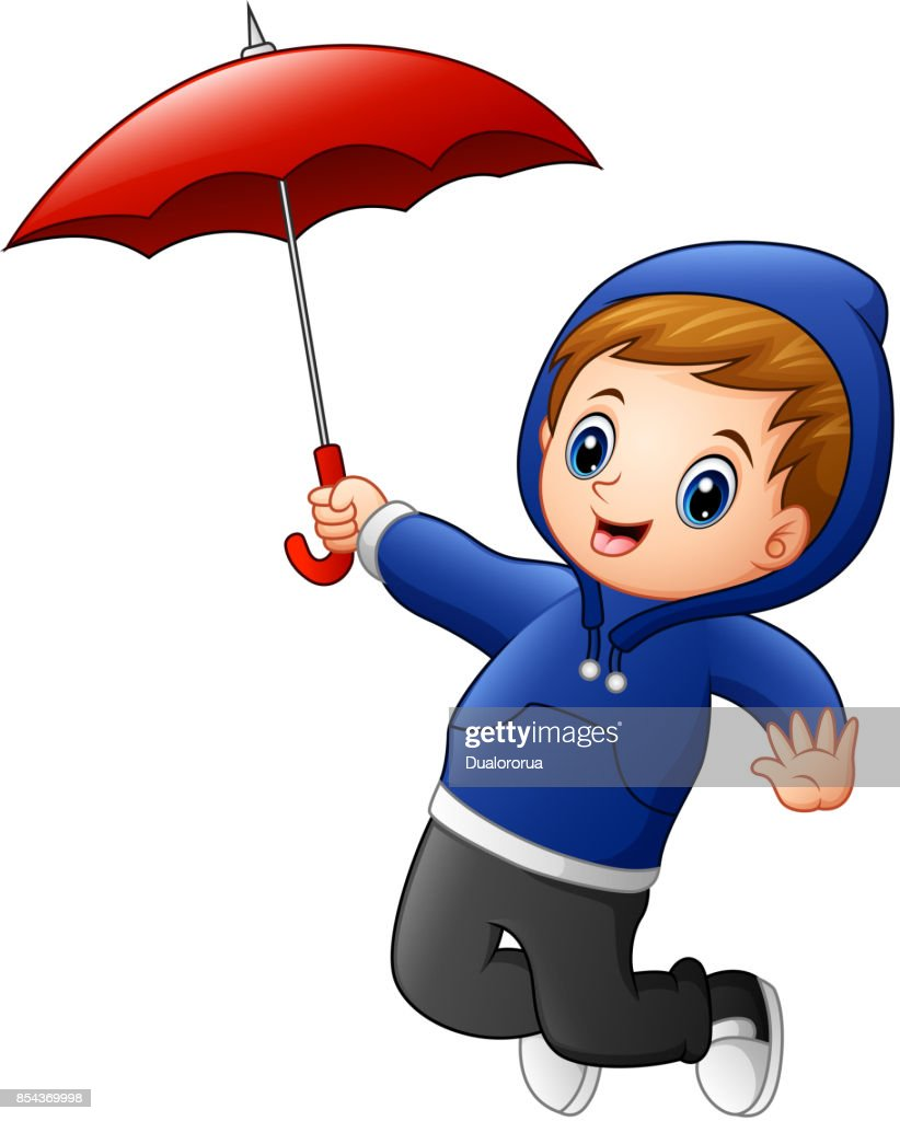 Little boy with red umbrella jumping