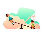 Little boys on seesaw vector illustration