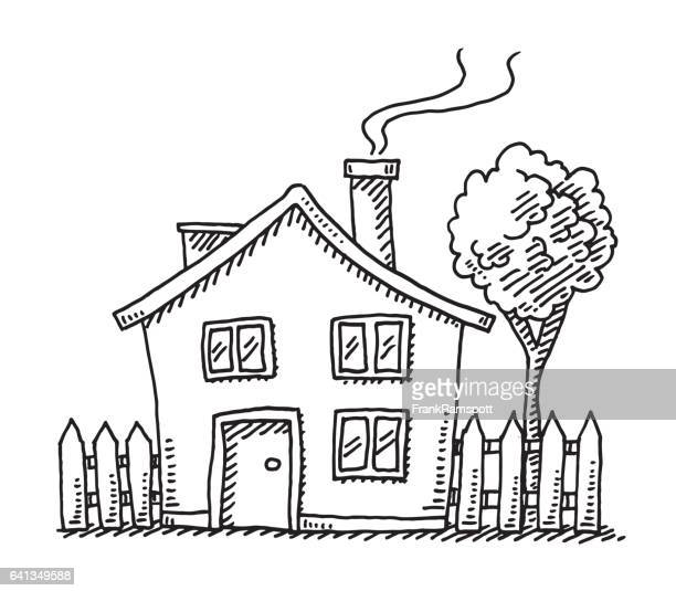 little cartoon house drawing - house exterior stock illustrations, clip art, cartoons, & icons
