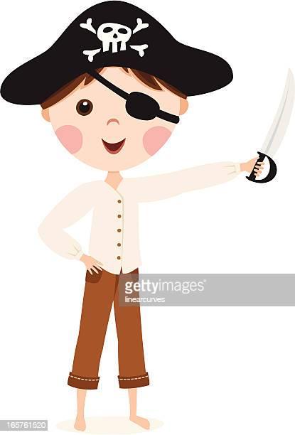 Little cartoon pirate boy