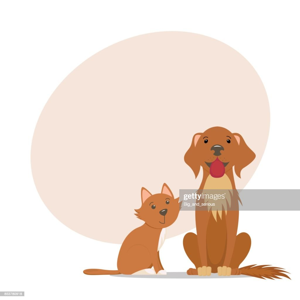 Little cat and big labrador dog and place for text
