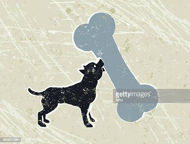 little chihuahua carrying a giant bone - dog bone stock illustrations
