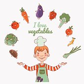 Little child cook with fresh vegetables