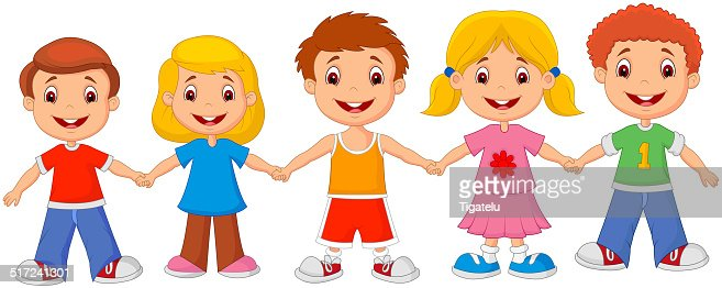 Little Children Cartoon Holding Hands Vector Art
