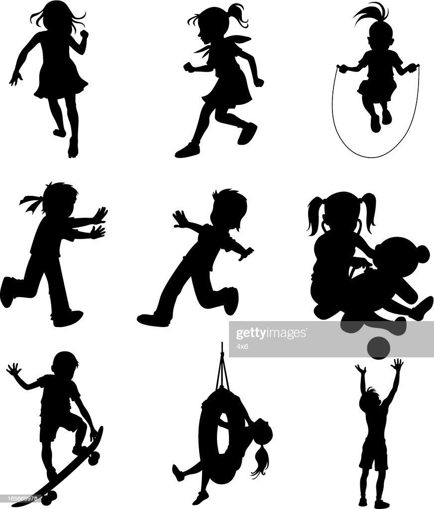 Little children doing different sports activities (cartoon style) : stock illustration