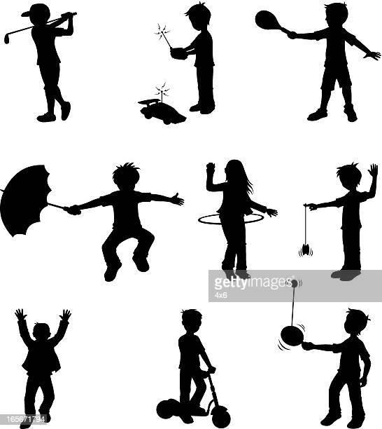 little children doing different sports activities - plastic hoop stock illustrations