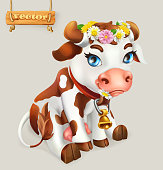 Little Cow. Funny character. 3d vector icon