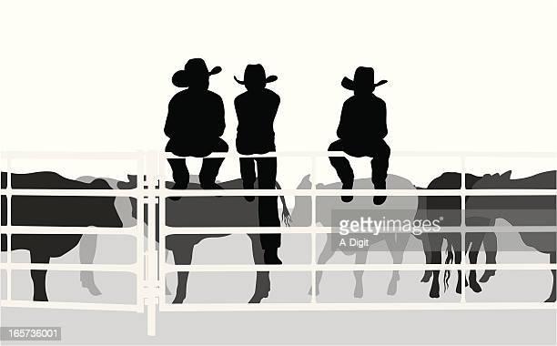Little Cowboys Vector Silhouette