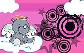 little cute baby angel rhino cartoon background