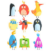 Little Cute Bird Chicks Collection Of Cartoon Characters in Geometric Shapes, Stylized Cute Baby Animals