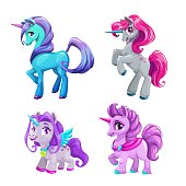 Little cute cartoon pony princess set. Vector beautiful horses icons.