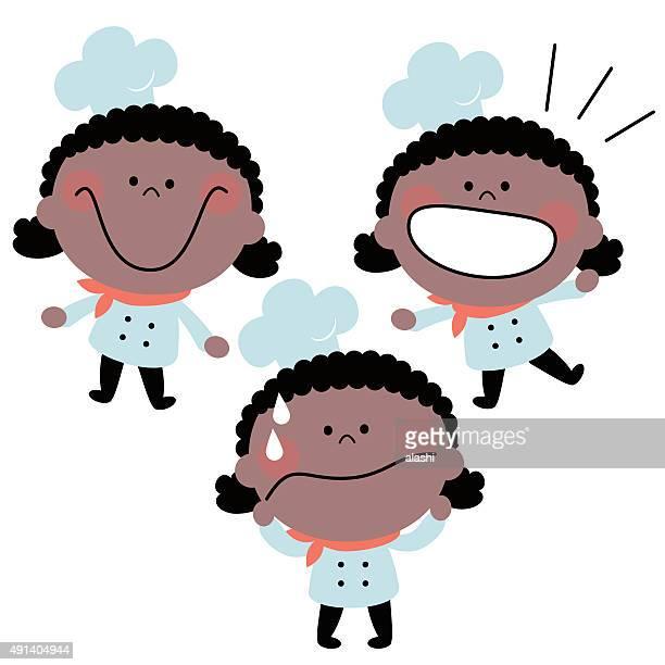 小さなかわいい女の子シェフの制服エモーションセット、黒人