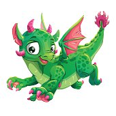 Little cute green flying young dragon