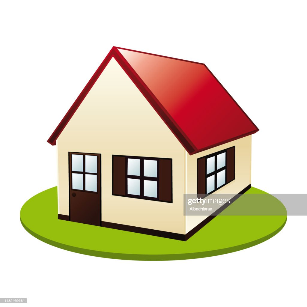 Little cute house. Real estate vector icon.
