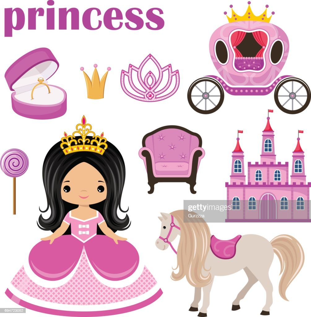 Little cute  Princess, castle and carriage