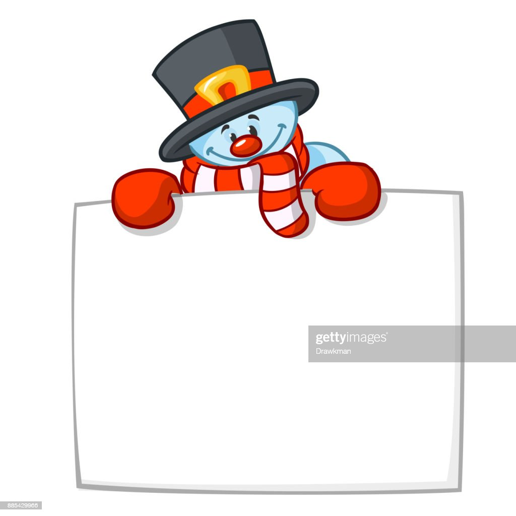 little cute smiling snowman with scarf and woolen cap holding blank scroll for text invitation christmas