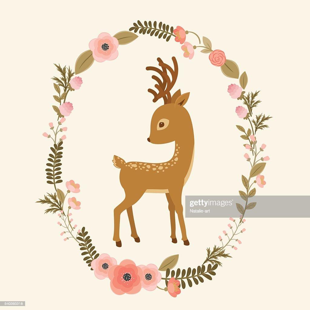 Little deer in a floral wreath