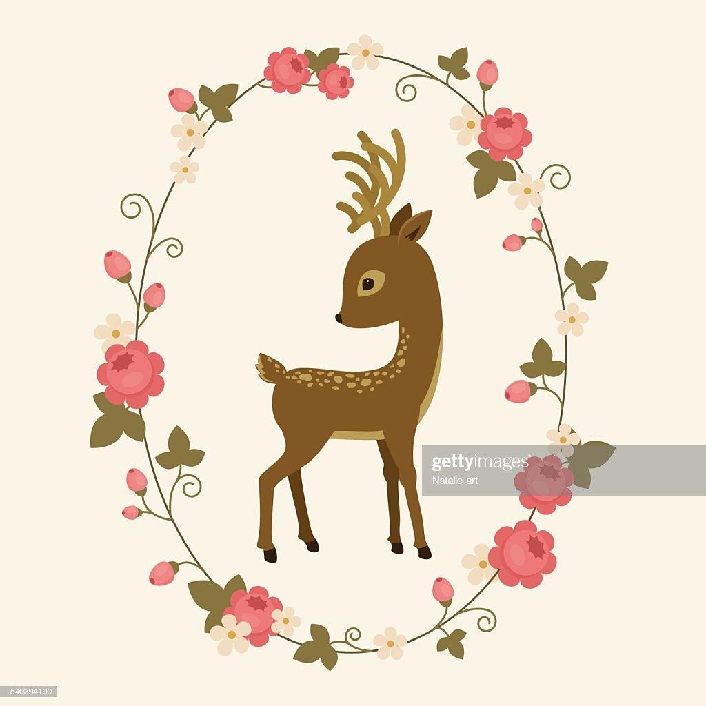 Little deer in a rose wreath