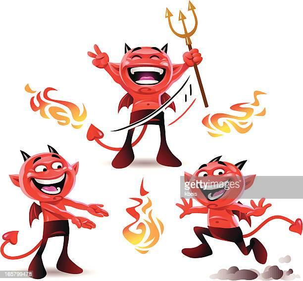 little devils in action - devil stock illustrations