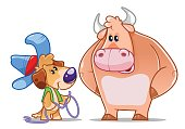 A little dog Cowboy wants to catch a big bull. Funny cartoon character. Vector illustration.