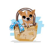 Little dog in a bag. cute pet concept - vector