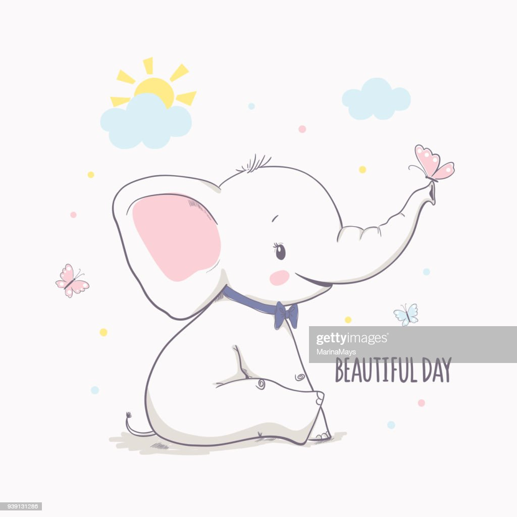 Little elephant with butterfly. Vector illustration for kids