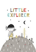 Little Explorer - Cute hand drawn nursery poster with lettering in scandinavian style. Color vector illustration