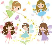 Little fairies in colorful dress with watercolor wings, magic wand and flowers Vector