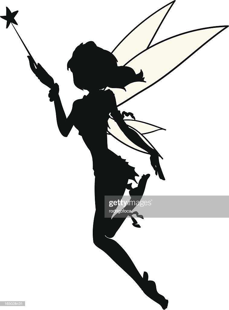 Little Fairy Silhouette Tatoo Vector